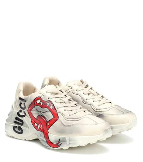 구찌 라이톤 스니커즈 여성용 입술로고 (Style 552093 A9L00 9522) - Gucci Rhyton leather sneakers