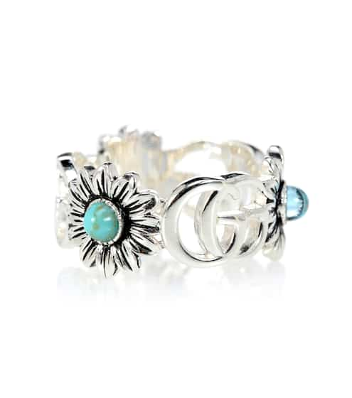 fc25c93ba Double G flower sterling silver ring with topaz and mother of pearl | Gucci
