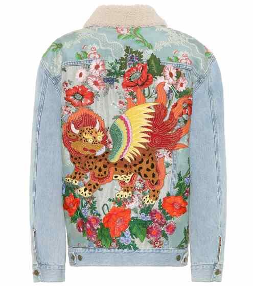 Gucci Bestickte Jeansjacke mit Lammfell