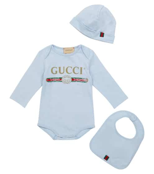 구찌 베이비 아기옷 세트 Gucci Kids Baby logo cotton bodysuit, hat and bib set