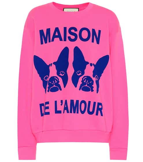 구찌 맨투맨 스웻셔츠 핑크 & 블루 Gucci Guccy embellished cotton sweatshirt