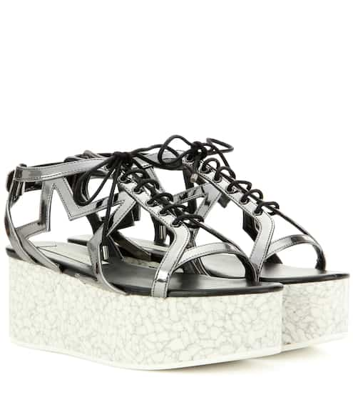 c9e159e1a14b Stella McCartney Lucy Star Metallic Faux Leather Platform Sandals ...