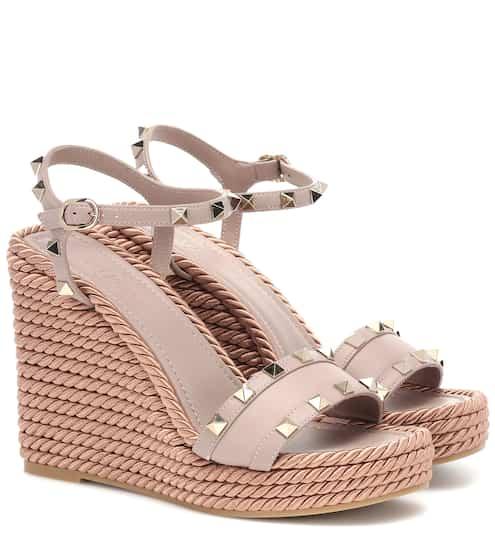 79bd85a465f7 Valentino Garavani Torchon leather wedge sandals