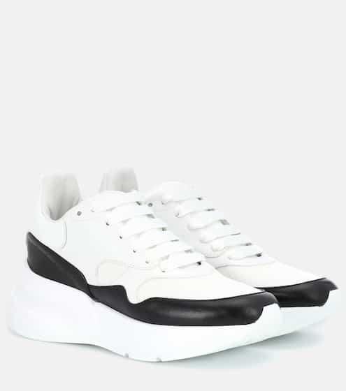 알렉산더 맥퀸 러너 여성용 - 화이트 블랙 Alexander McQueen Leather platform sneakers