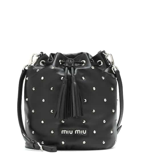 Embellished leather bucket bag  448f9b60053e7