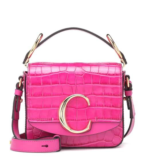 끌로에 C백 미니 숄더백 - 그래픽 핑크 Chloe C Mini leather shoulder bag