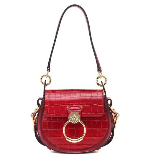 끌로에 테스백 스몰, 악어무늬 엠보싱 카프스킨 - 더스키 레드 Chloe Tess Small leather shoulder bag