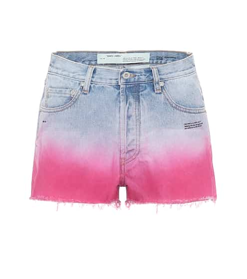 오프화이트 데님 반바지 Off-White High-rise ombre denim shorts