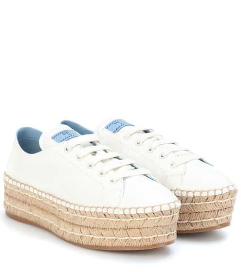 프라다 플랫폼 에스파드류 화이트 Prada Platform leather sneakers