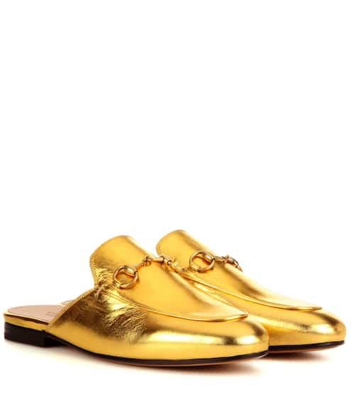 Gucci Slippers Princetown aus Metallic-Leder