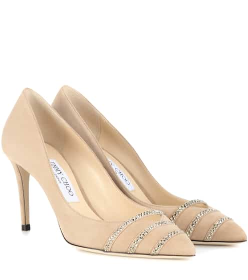 Bethan 85 Embellished Suede Pumps | Jimmy Choo