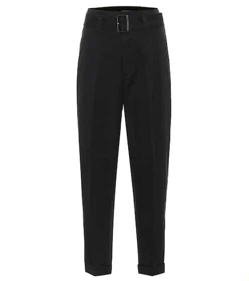 폴로 랄프로렌 바지 Polo Ralph Lauren Belted high-rise slim cotton pants