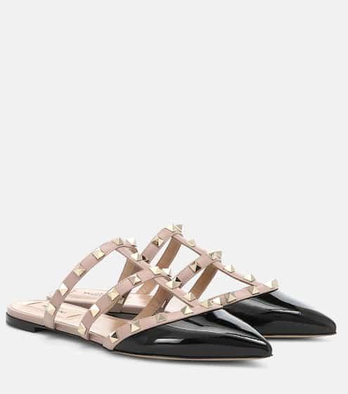 5762095dbe7 Valentino Garavani Rockstud patent leather slippers   Valentino