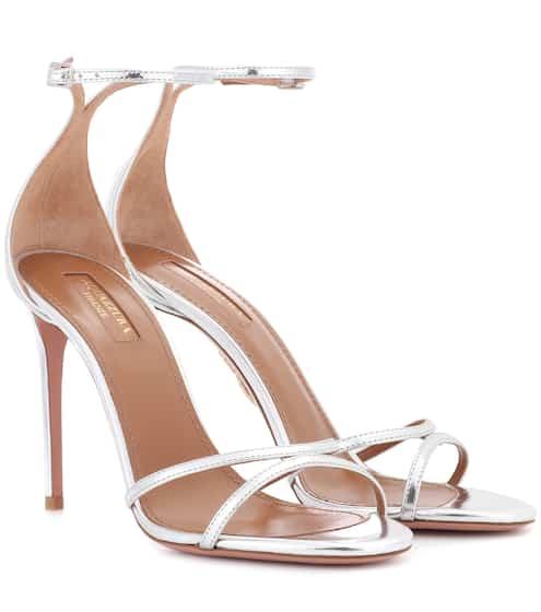 Aquazzura Sandalen aus Metallic-Leder