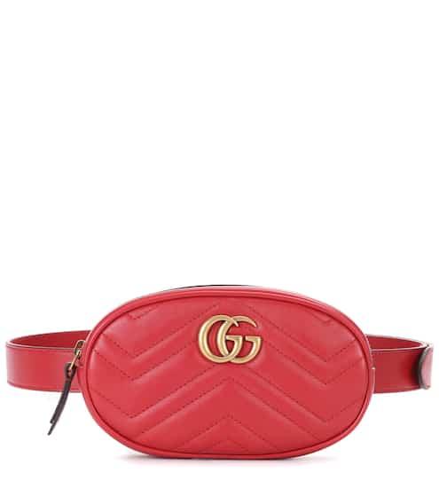 구찌 GG 마몽 퀼팅 벨트백 - 레드 (최화정, 제니, 수영 착용) Gucci GG Marmont leather belt bag