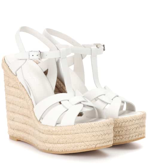 58c3a7aeeef Saint Laurent Leather Espadrille Wedge Sandals from mytheresa - Styhunt