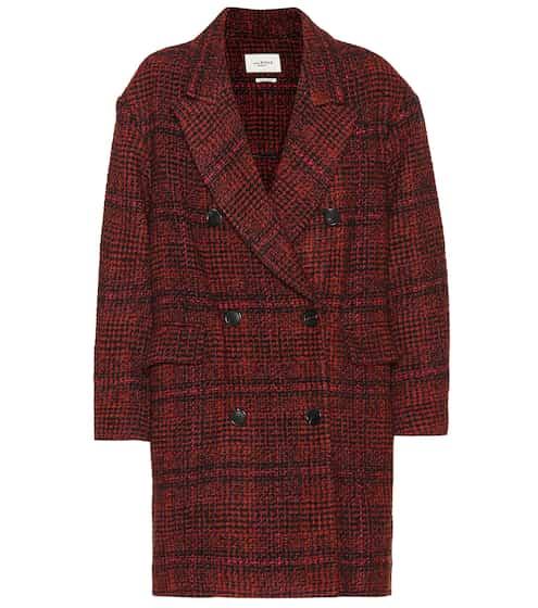 이자벨 마랑 에뚜왈 에브라 체크 코트 - 러스트 Isabel Marant, EEtoile Ebra plaid wool-blend coat