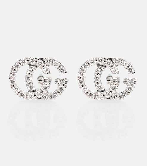 Boucles d oreilles en or blanc 18 ct et diamants Running G   Gucci 2f4993a8ba2