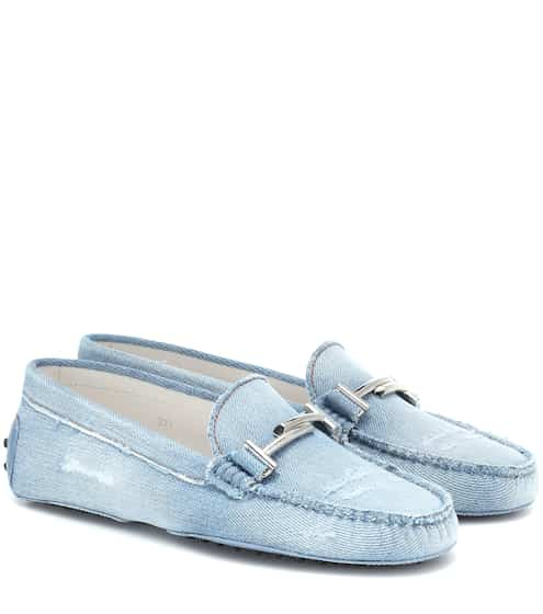 토즈 Tods Double T Gommino denim loafers
