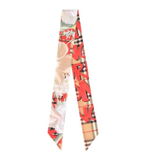 버버리 Burberry Graffiti Vintage Check silk scarf