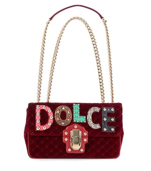 Dolce & Gabbana Schultertasche Lucia aus Samt und Leder