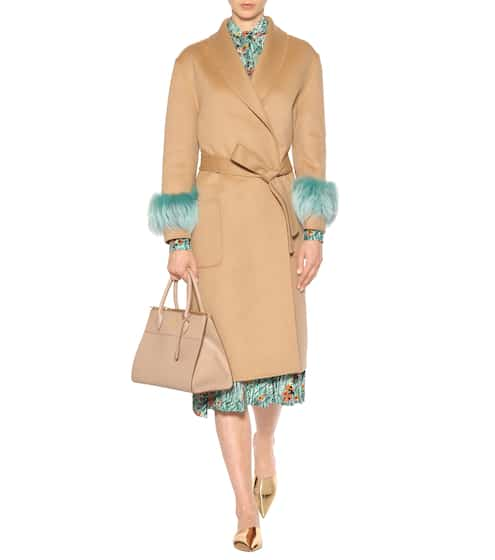 Wool, angora and cashgora fur-trimmed coat | Prada