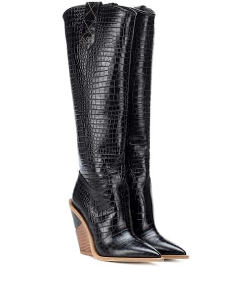ec2c4eca0ed06 Fendi Embossed Leather Cowboy Boots