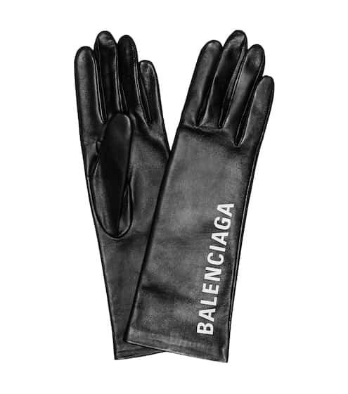발렌시아가 로고 가죽 장갑 Balenciaga Printed leather gloves