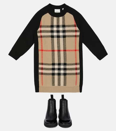 버버리 키즈 원피스 Burberry Checked sweater dress
