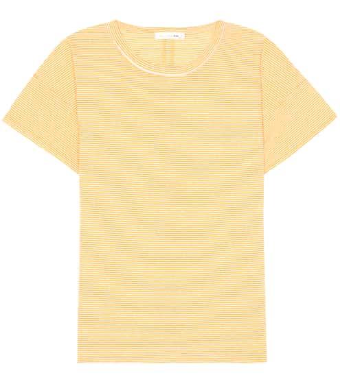 Rag & Bone Gestreiftes T-Shirt aus einem Leinengemisch