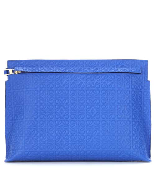 T Pouch embossed leather clutch | Loewe