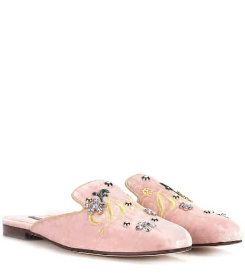 Dolce & Gabbana Verzierte Slippers aus Samt