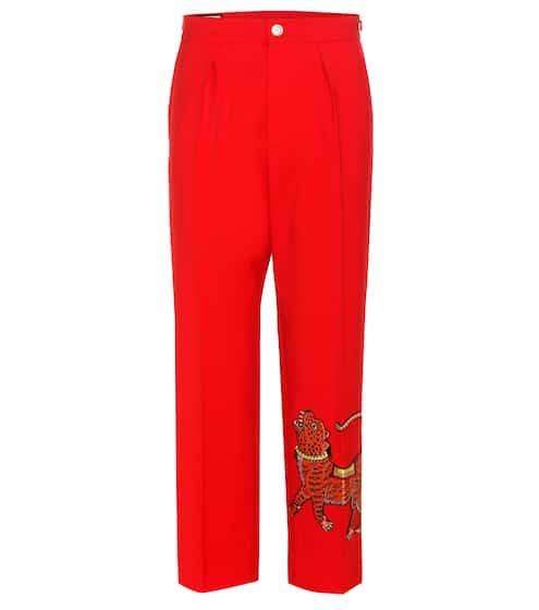 Gucci Verzierte Cropped Hose aus Woll-Crêpe