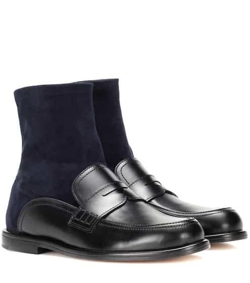로에베 LOEWE Leather and suede sock boots