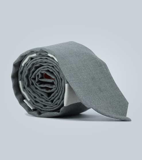톰 브라운 4바 울 넥타이 - 그레이 Thom Browne 4-Bar wool tie