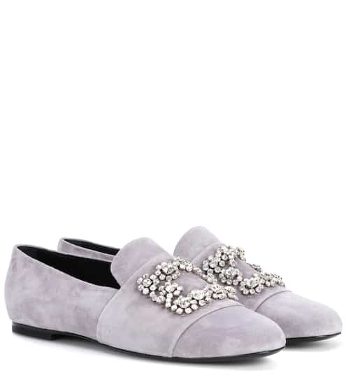 Roger Vivier Loafers Flower Strass aus Veloursleder