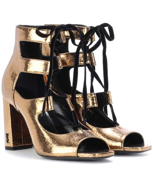 Saint Laurent Sandalen aus Metallic-Leder