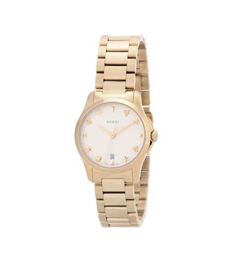 구찌 G-타임리스 시계 Gucci G-Timeless Small gold-plated stainless steel watch