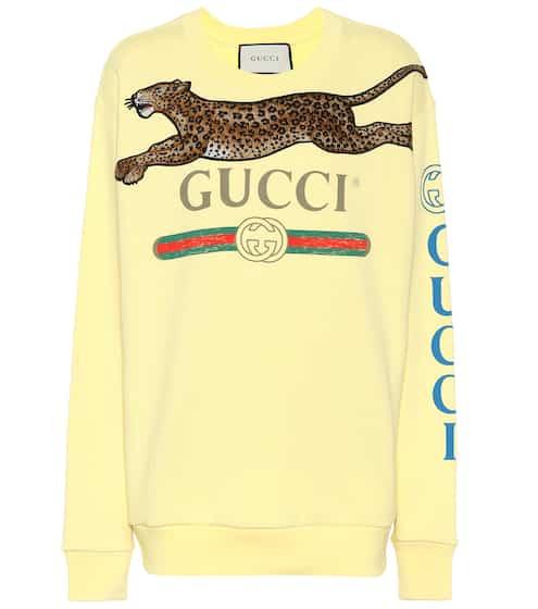 구찌 맨투맨 스웻셔츠 옐로우 Gucci Appliqued cotton sweatshirt