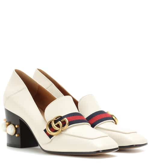Gucci Verzierte Loafer-Pumps aus Leder