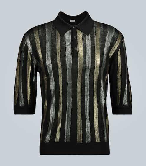 생 로랑 Saint Laurent Metallic stripe polo shirt