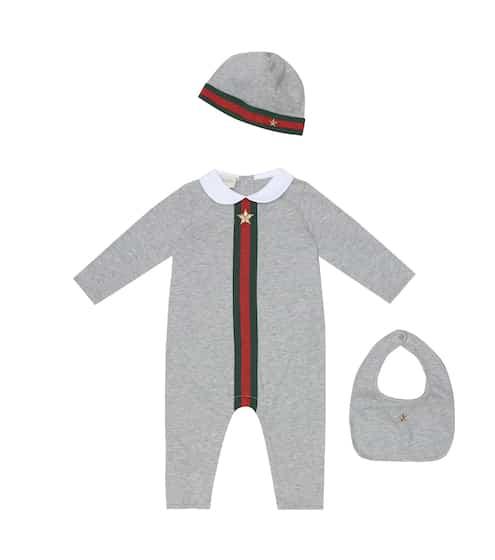 구찌 베이비 아기옷 세트 Gucci Kids Baby onesie, hat and bib set
