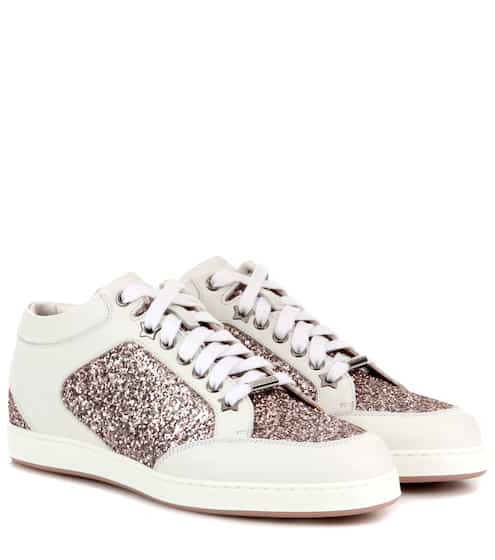 c0efc738db1 Jimmy Choo Miami Leather And Glitter Sneakers