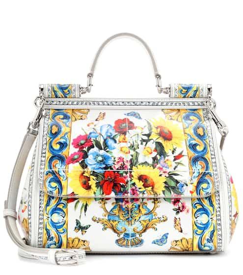 Dolce & Gabbana Schultertasche Sicily aus bedrucktem Leder