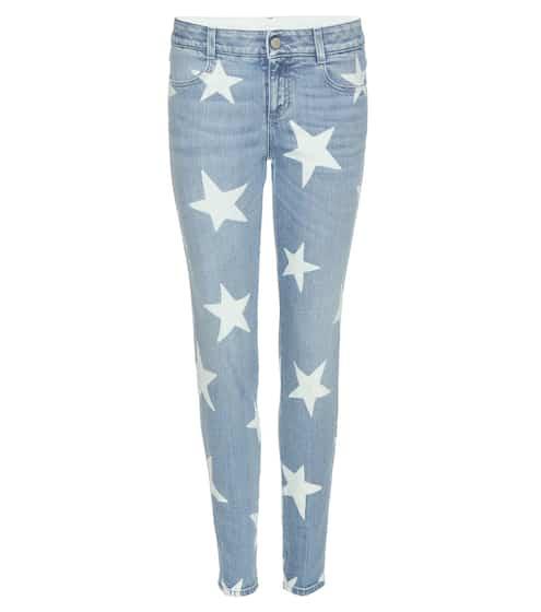 Stella McCartney Skinny Boyfriend-Jeans mit Sternenprint