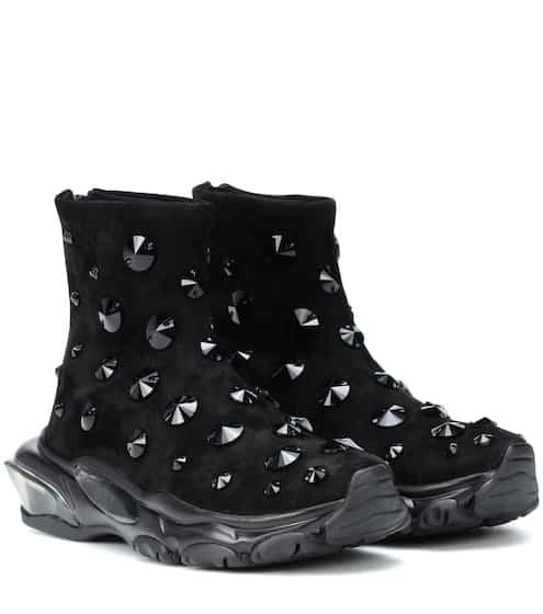 db345e9e39fc9 Valentino Valentino Garavani Bounce Embellished Suede Sneakers from ...