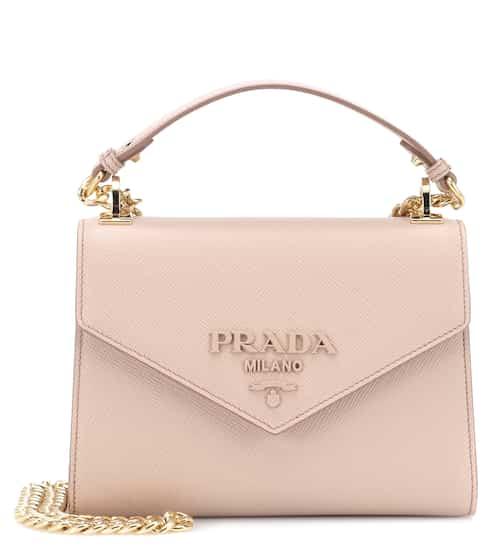 Monochrome Leather Shoulder Bag Prada