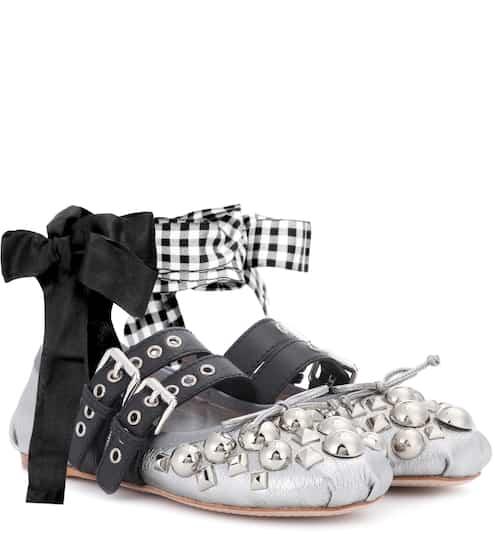 Miu Miu Ballerinas aus Metallic-Leder