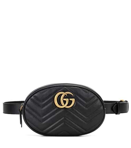 18 F/W 구찌 GG 마몬트 퀼팅 벨트백 블랙 (제니 착용) Gucci GG Marmont leather belt bag