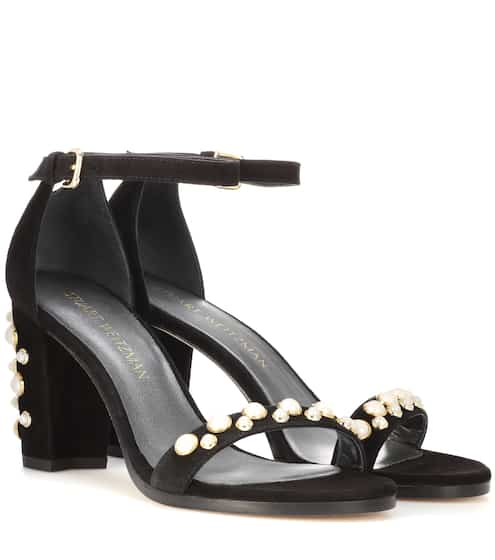 24c99d602d85e Stuart Weitzman Bing Pearls Embellished Suede Sandals from mytheresa ...